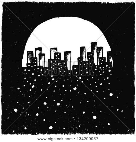 Hand-drawn night city on black background whith snowflakes on moon background