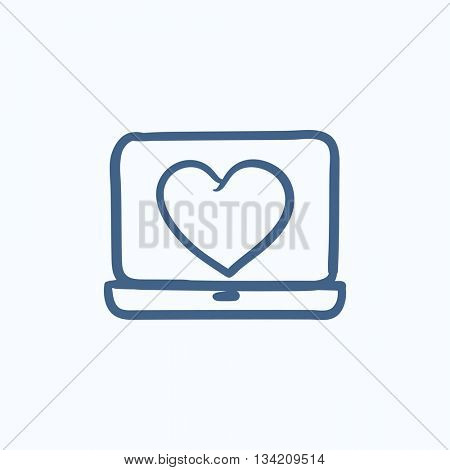 Laptop with heart symbol on screen vector sketch icon isolated on background. Hand drawn Laptop with heart symbol on screen icon. Laptop with heart sketch icon for infographic, website or app.