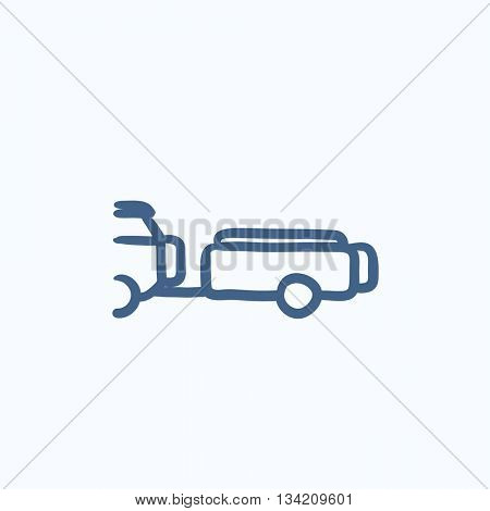 Car with trailer vector sketch icon isolated on background. Hand drawn Car with trailer icon. Car with trailer sketch icon for infographic, website or app.