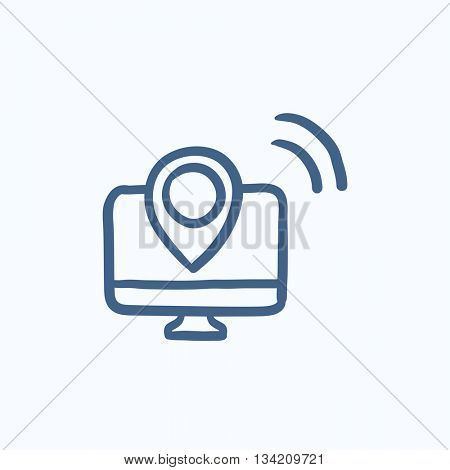 Navigation vector sketch icon isolated on background. Hand drawn Navigation icon. Navigation sketch icon for infographic, website or app.