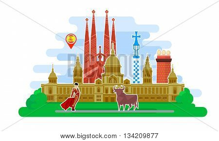 Concept of travel to Spain or studying Spanish. Spanish flag with landmarks. Excellent vacation in Spain. Cool trip to Spain. Fine travel to Spain. Time to travel. Tourism in Spain. Flat design, vector illustration