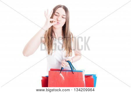 Satisfied Young Customer Doing Shopping In Her Leisure
