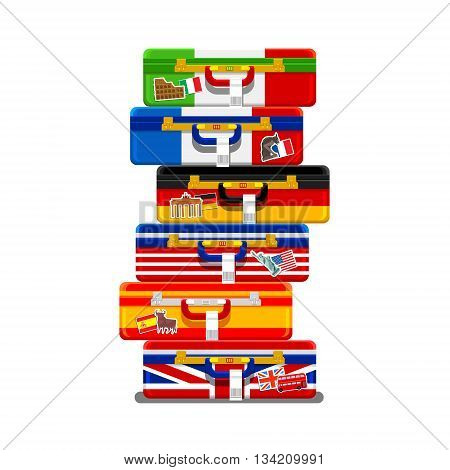 Concept of travel or studying languages. A pile of luggage in the flags colors. Time to travel in the world. Flat design, vector illustration.