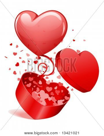 Heart gift open with fly hearts and balloon Valentine's day vector illustration for design