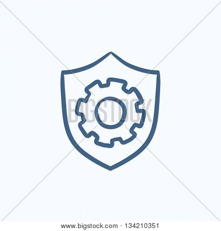 Shield with gear vector sketch icon isolated on background. Hand drawn Shield with gear icon. Shield with gear sketch icon for infographic, website or app.