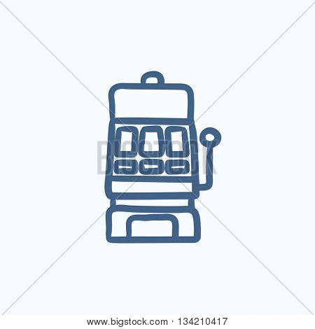 Slot machine vector sketch icon isolated on background. Hand drawn Slot machine icon. Slot machine sketch icon for infographic, website or app.