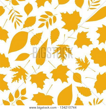 Seamless vector pattern of golden autumn leaves on a white background. Elements for autumn design. Golden autumn. Beautiful autumn background.