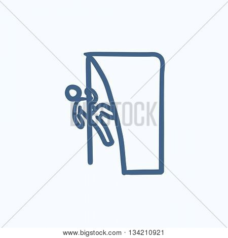 Rock climber vector sketch icon isolated on background. Hand drawn Rock climber icon. Rock climber sketch icon for infographic, website or app.