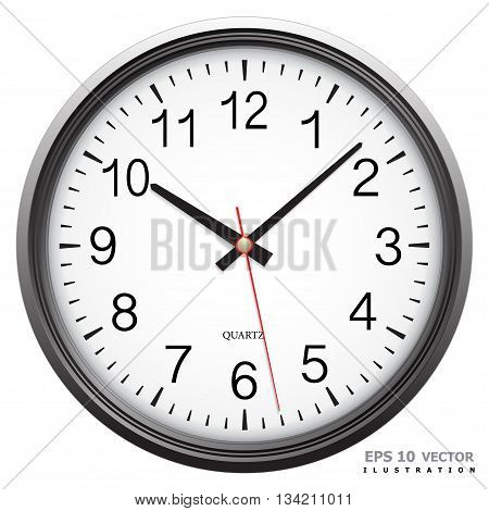 Wall clock dial classic on white background isolated vector illustration.