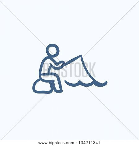 Fisherman sitting with rod vector sketch icon isolated on background. Hand drawn Fisherman sitting with rod icon. Fisherman sitting with rod sketch icon for infographic, website or app.