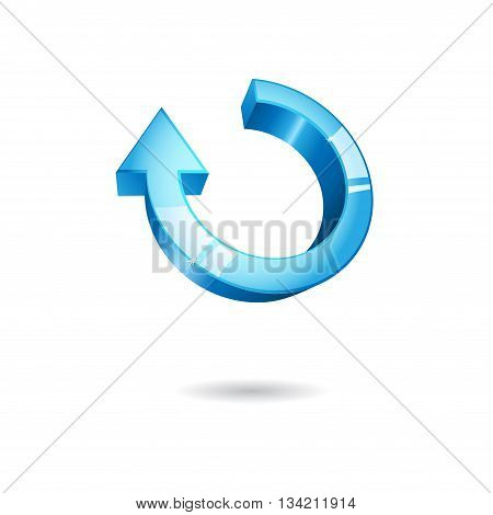 Big blue arrow with shadow isolated on white background