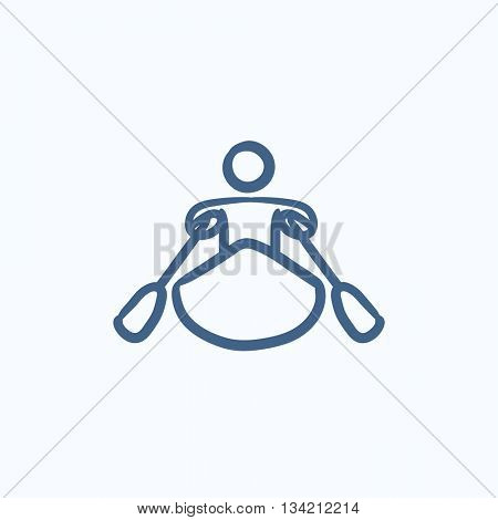 Man kayaking vector sketch icon isolated on background. Hand drawn Man kayaking icon. Man kayaking sketch icon for infographic, website or app.