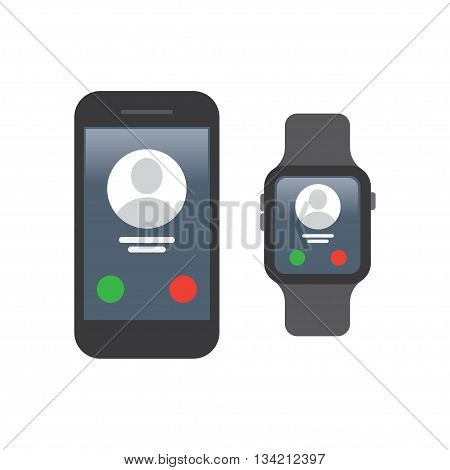 smart watch and smartphone synchronization on a white background. Vector Illustration.