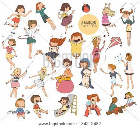 Big set of fun kids illustrations in various summer activities on playground. Girls playing outdoors smiling hugging jumping. Vector isolated on white background picture hand-drawn with liquid ink