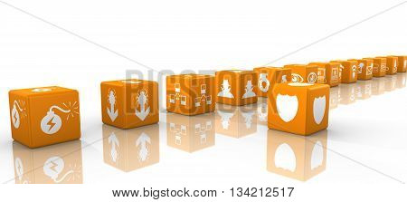 Orange dice in a row with information security threat icons isolated on white 3D illustration cybersecurity concept
