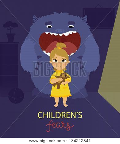Vector illustration of children's fears of darkness and monsters poster design concept for banners