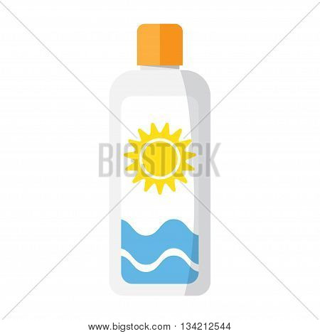 Sunscreen Care Sun Protection Cosmetics container orange vector illustration. cream icon in flat-style isolation on a white background