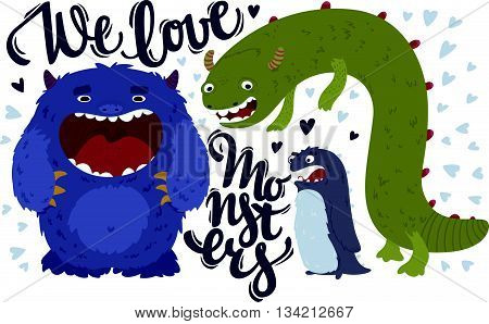 Vector illustration of cute nice monsters with lettering.