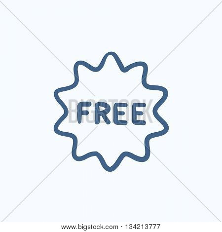 Free tag vector sketch icon isolated on background. Hand drawn Free tag icon. Free tag sketch icon for infographic, website or app.