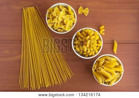 Vermicelli (Pasta) different kinds. The top view