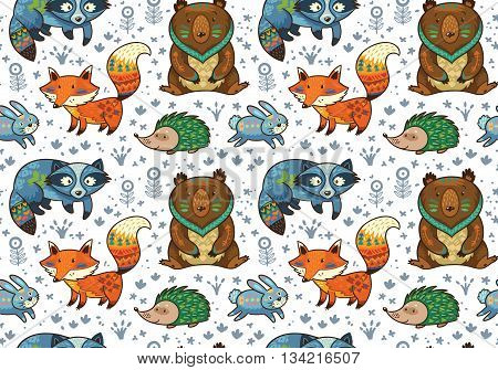Woodland friends forest animals in white background. Vector pattern of cute tribal animals in the forest - fox, beaver, raccoon, bear, hedgehog, deer and owl. Vector illustration