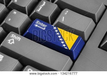 Enter Button With Flag Of Bosnia And Herzegovina