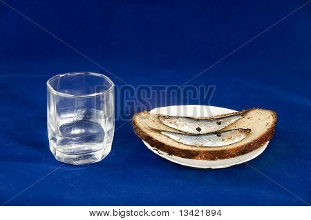 Glass Of Vodka And Sandwich With A Sprat