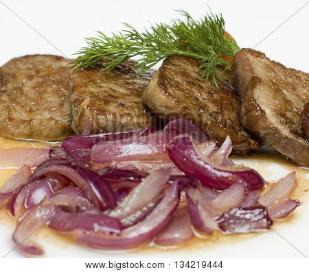 Gourmet restaurant food - veal with red onion