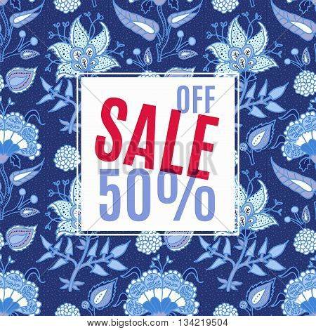 Banner Sale 50 discount. With vintage floral background. For advertising business websites print