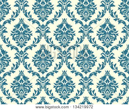 Vector seamless floral damask pattern. Rich ornament, old Damascus style. Royal victorian seamless p