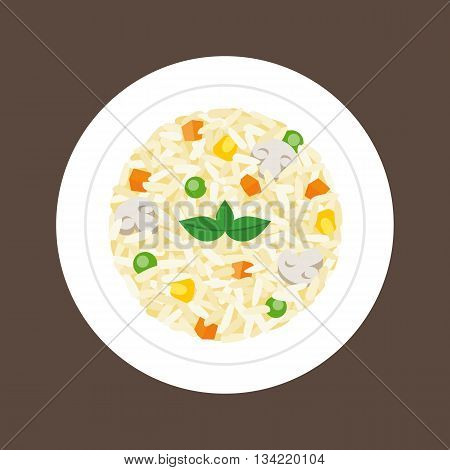 risotto  (northern Italian rice dish cooked in a broth to a creamy consistency), flat design
