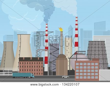 Plant factory on the city background. Industrial factory landscape. Pollution concept