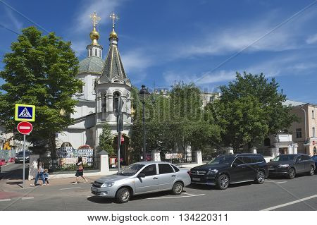 MOSCOW, RUSSIA - MAY 31, 2016: City landscape. View of the Church of the Ascension Bolshaya Nikitskaya Street 18 Landmark restored in 1739