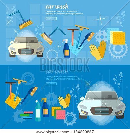Car wash banner automatic car wash vector illustration
