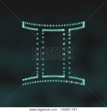 Twins astrology sign. Neon shine disco particles astrological symbol. 3D rendering
