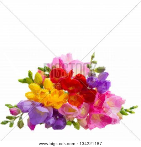 Low poly illustration Fresh yellow, red, pink and blue freesia flowers