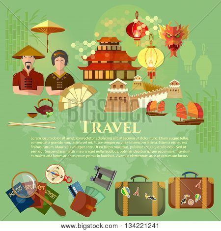Welcome to China chinese traditions and culture journey to Asia vector illustration