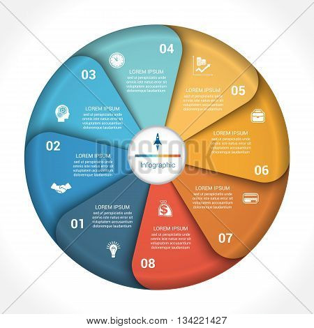 Template infographic eight position steps parts with text area vector illustration colourful in the form of flower petals. Business pie chart diagram data.