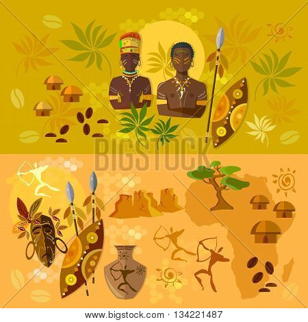Africa banner ancient tribes of African culture and traditions vector illustration