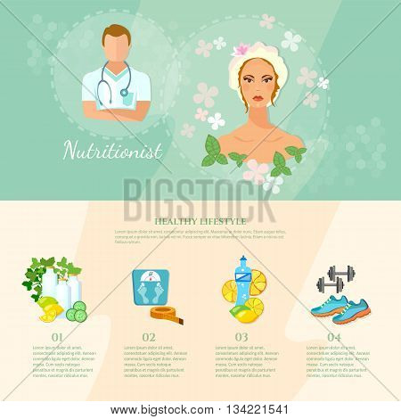 Dietetics infographics elements healthy lifestyle proper nutrition fitness female cosmetics vector illustration