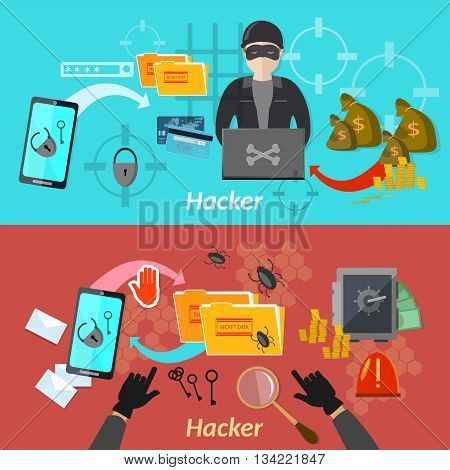 Hacker attack banner mobile phone hacking protecting computer professional hacker vector illustration