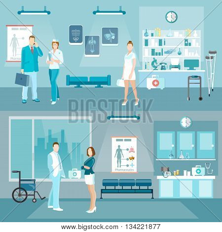 Medicine banners doctors and hospital interiors health service people in hospital vector illustration