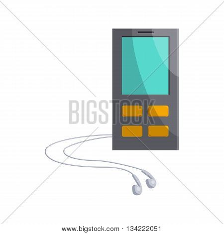 Mp3 player with headphones icon in cartoon style on a white background