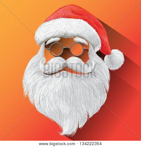 Santa Claus Hat, eyeglasses and beard. Vector illustration on orange background for Merry Christmas festival holiday.