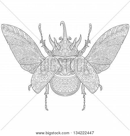 Zentangle stylized cartoon rhinoceros beetle isolated on white background. Hand drawn sketch for adult antistress coloring page T-shirt emblem logo tattoo with doodle zentangle design elements.