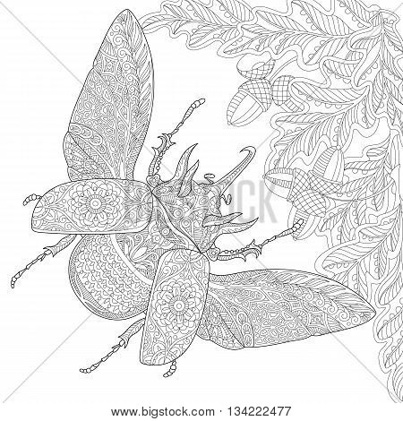 Zentangle stylized cartoon rhinoceros beetle oak leaves and acorns. Hand drawn sketch for adult antistress coloring page T-shirt emblem logo tattoo with doodle zentangle floral design elements.