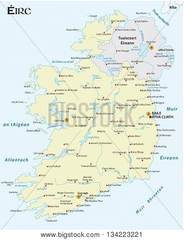 vector map of the Irish republic in Irish Gaelic language
