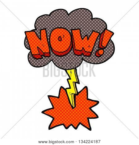 freehand drawn comic book style cartoon now shout symbol with thundercloud