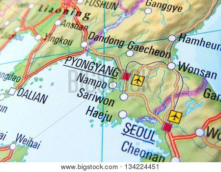 Map with focus set on Pyongyang, North Korea.