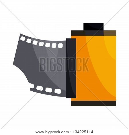 Camera film roll icon in cartoon style on a white background